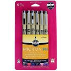 Sakura Pigma Micron Plastic Nib Assorted Colors Set-6 piece(Black, Red, Blue/Black, Sepia, Rose, Purple) 50221